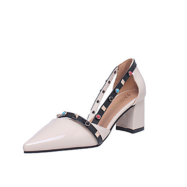 Women's Suede Fall Comfort Heels Chunky Heel Pointed Toe White / Coffee / Pink / Dress / 2-3