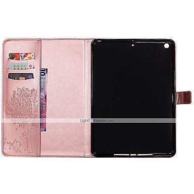 Capinha Para Apple iPad 4/3/2 iPad Air 2 iPad Air Porta-Cartão Carteira Com Suporte Flip Com Relevo Capa Proteção Completa Gato Borboleta