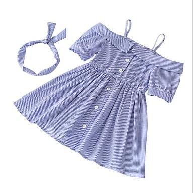 Brzdąc Dla dziewczynek Podstawowy Codzienny Solidne kolory Krótki rękaw Jedwab wiskozowy Sukienka Niebieski 100