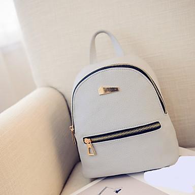 cheap Backpacks-PU Leather Zipper Commuter Backpack Geometric Daily Black / Blushing Pink / Gray