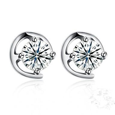 dd3837d667e5 Mujer Diamante Zirconia Cúbica Geométrico Pendientes cortos S925 Sterling  Silver Aretes Perros damas Moda Joyas Plata Para Regalo Diario