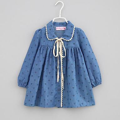 Brzdąc Dla dziewczynek Codzienny Nadruk Długi rękaw Jedwab wiskozowy Bluzka Niebieski / Śłodkie