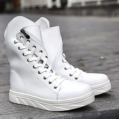Męskie Fashion Boots PU Jesień / Zima Botki Kozaki Biały / Czarny