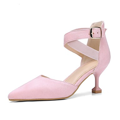 les chaussures de confort printemps noir, / été similicuir noir, printemps talons de talon aiguille orteil boucle / rose / almond / partie & soir fa1983