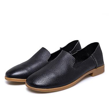 Confort Bas D6148 Cuir et 06620725 Talon Mocassins Automne Printemps Chaussons Chaussures rond Bout Jaune Noir Femme qIw8w