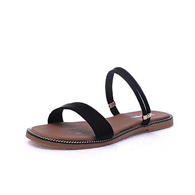Mujer Zapatos PU microfibra sintético Verano Innovador Sandalias Tacón Plano Dedo redondo Pedrería / Cristal Negro / Almendra QB5W8g