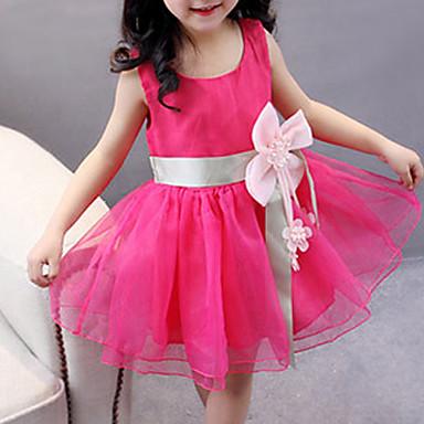 فستان بدون كم لون سادة مناسب للعطلات / مناسب للخارج شريطة للفتيات طفل صغير