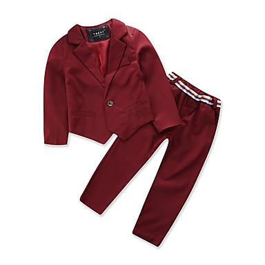 Brzdąc Dla chłopców Zabytkowe / Moda miejska Impreza / Wyjściowe Jendolity kolor Długi rękaw Bawełna Komplet odzieży