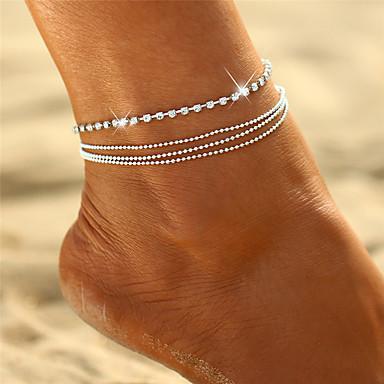 billige Kropssmykker-Dame Krystall Lag-på-lag stables Ankel - damer, Bohemsk, Bikini, Bohem, Multi Layer Smykker Sølv Til Gave Ut på byen