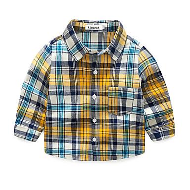 baratos Camisas para Meninos-Bébé Para Meninos Activo Diário Xadrez Estampado Manga Longa Padrão Algodão Camisa Amarelo