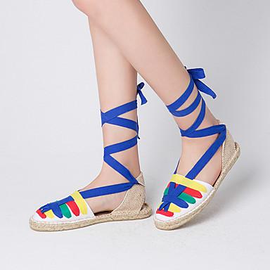 Mujer Zapatos Tejido Primavera / Verano Confort Sandalias Tacón Plano Punta cerrada Corbata de Lazo Azul / Fiesta y Noche / Con Lazo apkI5K