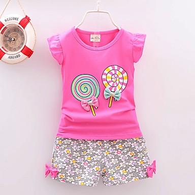 مجموعة ملابس قطن بدون كم طباعة ورد مناسب للعطلات عتيق للفتيات طفل صغير / جميل