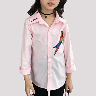 cheap Girls' Tops-Kids Girls' Cartoon Daily Embroidered Long Sleeve Regular Cotton Shirt White
