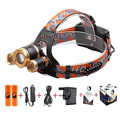 U'King פנסי ראש LED 4800lm 4 / 3 מצב תאורה עם סוללות ומטען Zoomable / מיקוד מתכוונן / קל לנשיאה מחנאות / צעידות / טיולי מערות / שימוש