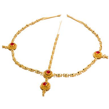 levne Dámské šperky-Dámské Módní Elegantní Křížem Synthetic Ruby Doplňky do vlasů / Pozlacené