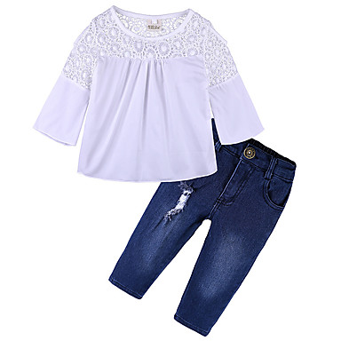 e99a61d5176bb Toddler Girls' Active / Street chic Daily / Sports Print Long Sleeve  Regular Cotton / Polyester Clothing Set White