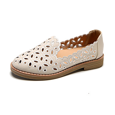 Women's Shoes PU(Polyurethane) Summer Light Soles Sandals Flat Heel Round Toe Hollow-out White / Black / Beige