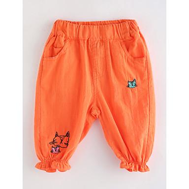 Brzdąc Dla dziewczynek Podstawowy Solidne kolory Bawełna Spodnie Pomarańczowy 100