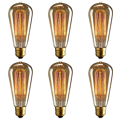 abordables Incandescent-brelong 6 pcs e27 40w st64 ampoule décorative edison dimmable blanc chaud