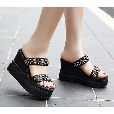 Polyuréthane Femme Chaussures Sandales Blanc 06649737 Hauteur Confort compensée Eté Noir semelle de 517rx4q1