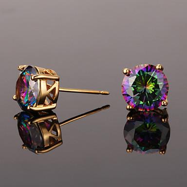 Niedlich Kubikzirkonia Zirkon Kubikzirkonia - Retro Party Büro Gold Silber Kreisform Geometrische Form Ohrringe Für