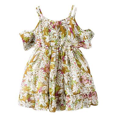 Brzdąc Dla dziewczynek Podstawowy Codzienny Kwiaty Bez rękawów Poliester Sukienka Żółty 100