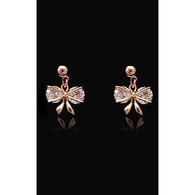 Pentru femei Cristal - Placat Auriu, S925 Sterling Silver Floare, Fluture, Nod Funda European, Modă Roz auriu Pentru Stradă / Concediu
