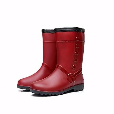 c6cad228c0890 Women's Boots Flat Heel PVC Leather Mid-Calf Boots Rain Boots Winter  Burgundy