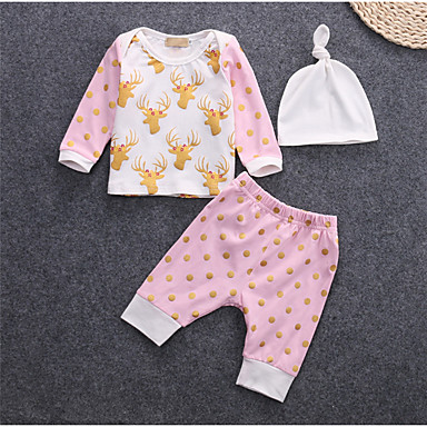 Bebelus Fete Activ Imprimeu Manșon Lung Lung Bumbac Set Îmbrăcăminte
