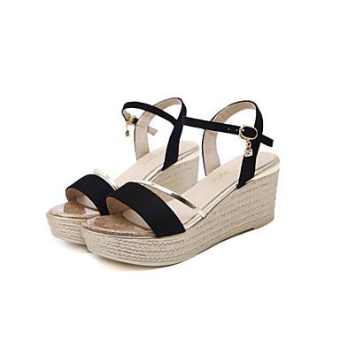 microfibre ouvert Femme compensée Sandales Eté Boucle 06685685 Noir semelle Bout synthétique de de Confort Or Hauteur PU Chaussures wqROqnUS