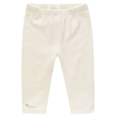 Bambino Da Ragazza Essenziale Tinta Unita Cotone Pantaloni Bianco #06692282