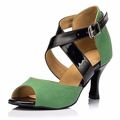 Women's Latin Shoes Nubuck leather Heel Stiletto Heel Dance Shoes Performance Black / Green / Performance Shoes / Leather / Practice 06798a