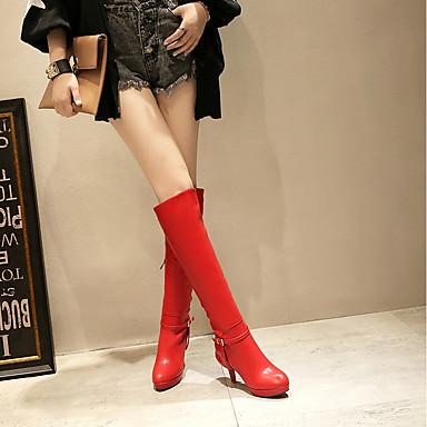 Blanc la Boucle Rouge Talon Femme Noir Chaussures Bottes Aiguille rond Bottes 06694470 Mode Bout à Hiver Bottes Similicuir wORqxOX6
