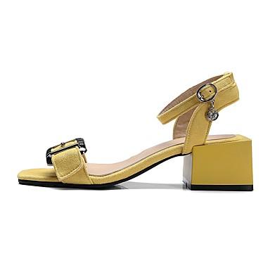 Eté Chaussures Boucle Noir Vert Heel 06679164 Similicuir Jaune Bout Bride ouvert de Femme Block Sandales Cheville wEdqFac7C