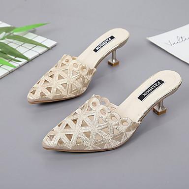 Verano 06671969 PU Tacón Puntiagudo Zuecos Dorado Confort Zapatos Mujer Negro y Dedo Stiletto pantuflas Eq5fCxUnO