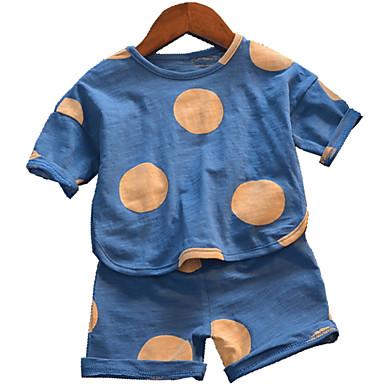 Copii Băieți De Bază Buline Imprimeu Manșon scurt Bumbac Set Îmbrăcăminte