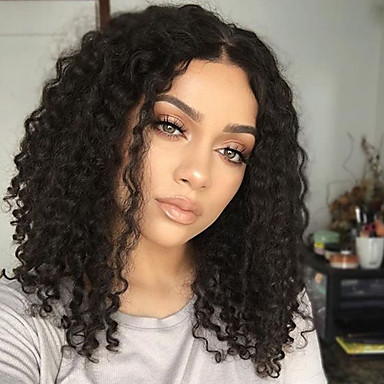 Remy Human Hair Lace Front Wig Brazilian Hair Curly Wig Bob Haircut