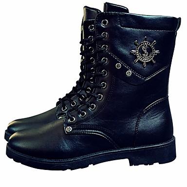 Męskie Buty PU Zima Comfort / Obuwie w stylu wojskowym Buciki Kozaki do połowy łydki Black