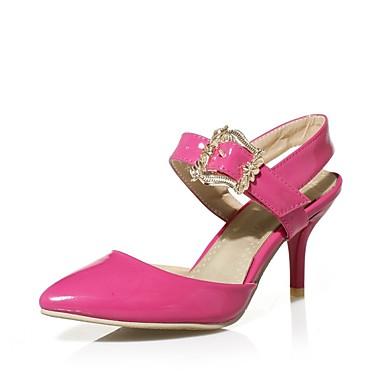 Bout amp; pointu Beige Chaussures Vert Rouge été Printemps Boucle D'Orsay Deux Pièces Talon 06697501 Femme Similicuir Aiguille Sandales Pqfqp