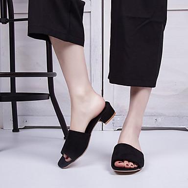 06666491 Mujer y Zapatos Bajo Negro Confort Tacón Verano PU flip Zapatillas flops PP1nx