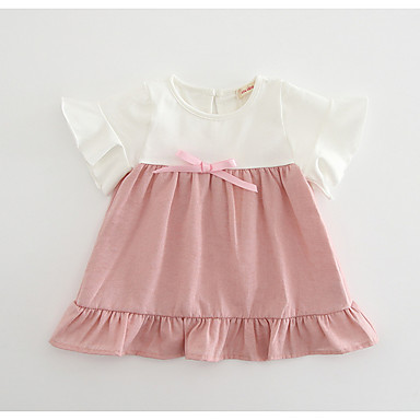 Dziecko Dla dziewczynek Podstawowy Kolorowy blok Krótki rękaw Sukienka / Brzdąc