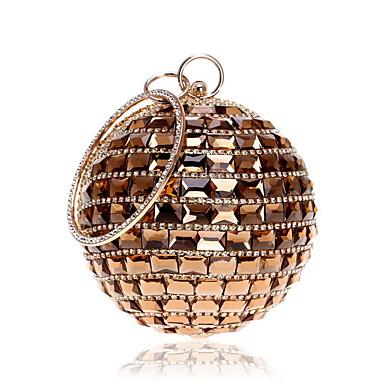 billige Vesker-Dame Krystalldetaljer Rhinestones / Legering Aftenveske Rhinestone Crystal Evening Bags Svart / Rød / Sølv