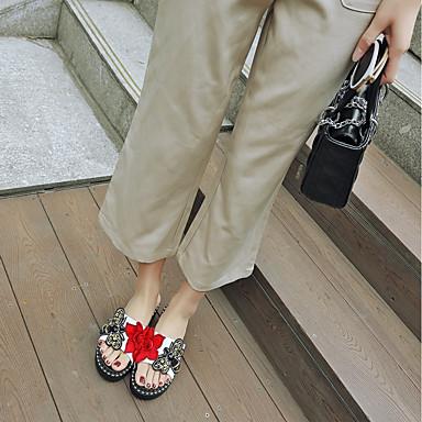 Rose Eté Tongs ouvert A Chaussures Chaussons amp; Blanc Femme Paillette Noir Similicuir Billes 06674353 Bout Bride Arrière Creepers xwRnaq