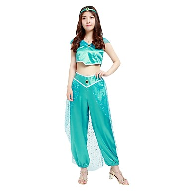princess jasmine costume womens halloween carnival new year festival holiday halloween costumes outfits blue solid