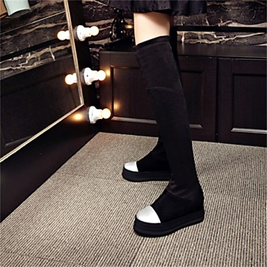 Bout Creepers Noir Bottes Chaussures slouch Similicuir Gris Femme Confort Cuissarde Hiver bottes 06698859 rond fn6xgqBC8w