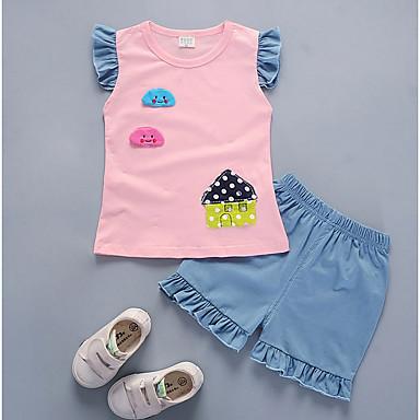 Bebelus Fete De Bază Zilnic / Școală Imprimeu Manșon scurt Regular Bumbac Set Îmbrăcăminte Roz Îmbujorat 100 / Copil