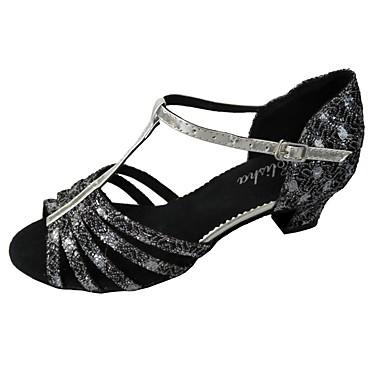 Damskie Buty do latino Brokat Sandały Obcas do wyboru Personlaizowane Buty do tańca Silver / Domowy