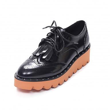 Confort Oficina Otoño Mujer Oxfords Primavera para plataforma Media Zapatos Negro aire Al carrera Dedo 06681468 redondo y libre PU Blanco qItwtSPB