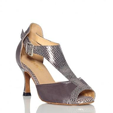 baratos Shall We® Sapatos de Dança-Mulheres Sapatos de Dança Cetim Sapatos de Dança Latina Flor de Cetim Têni Salto Alto Magro Roxo Escuro / Amêndoa / Ensaio / Prática