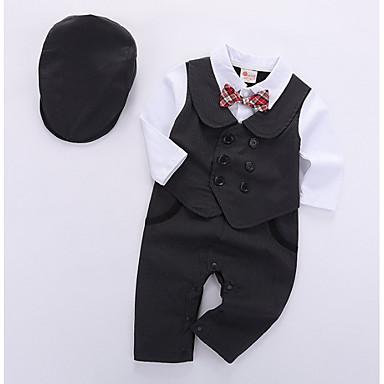 billige Babyklær Gutter-Baby Gutt Grunnleggende Daglig Ensfarget Langermet Normal Tøysett Svart